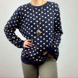 LOFT heart pattern lightweight sweater sz M/L